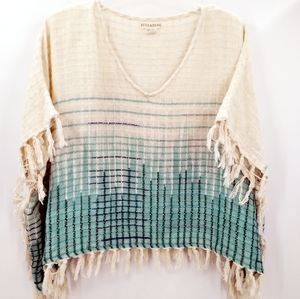 Billabong Cropped Oversized Boho Fringe Poncho Top
